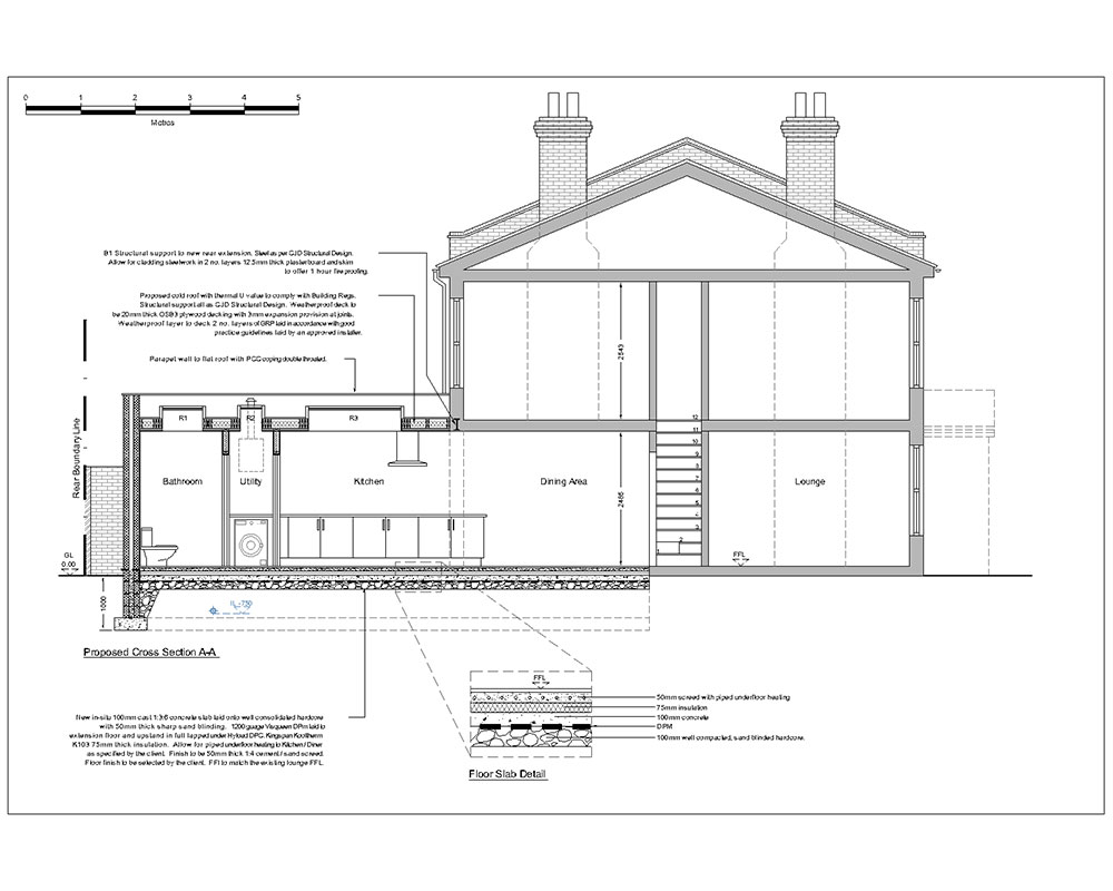 Architectural 2D CAD drawing Colne Rd section