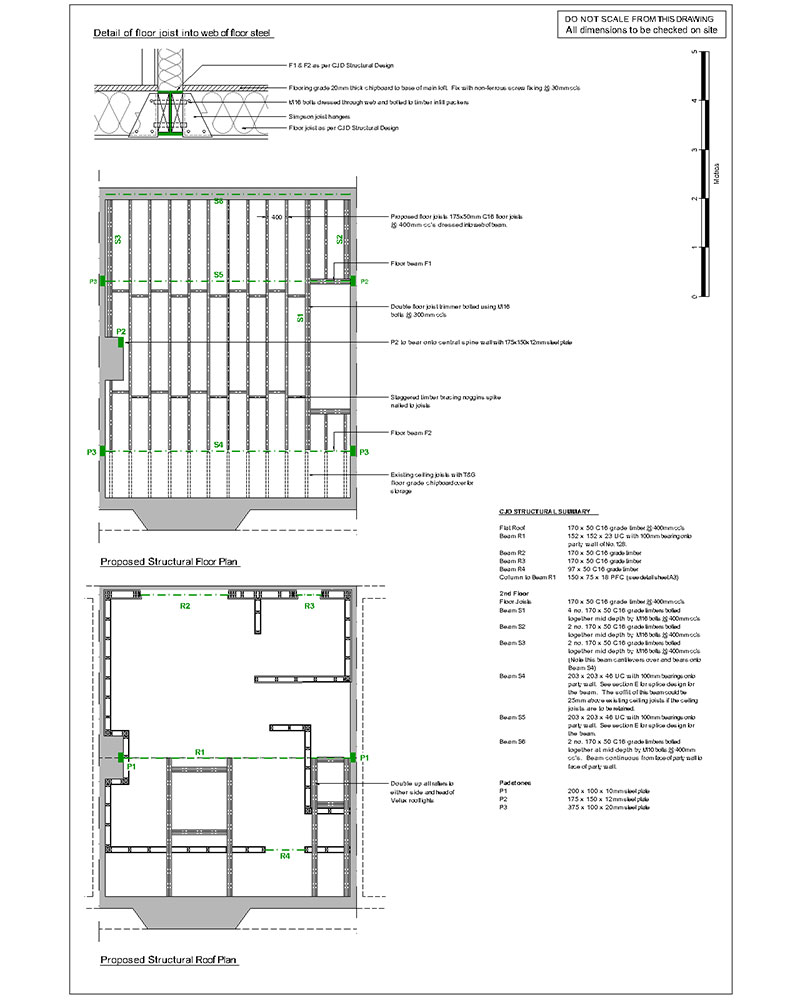 Architectural 2D CAD drawing structural plan