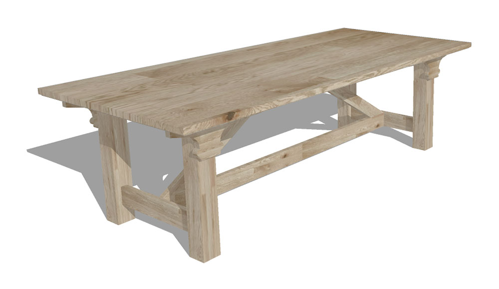 Interior design - oxburgh table 3d visualisation